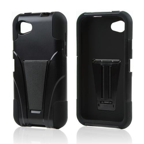 Black Hard Case w/ Kickstand Over Black Silicone for HTC First