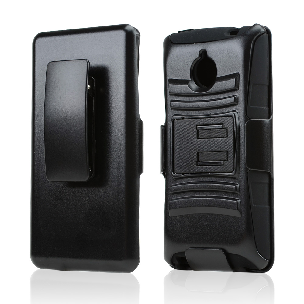 Black Hard Case w/ Kickstand on Black Silicone Skin Case w/ Holster for HTC 8XT