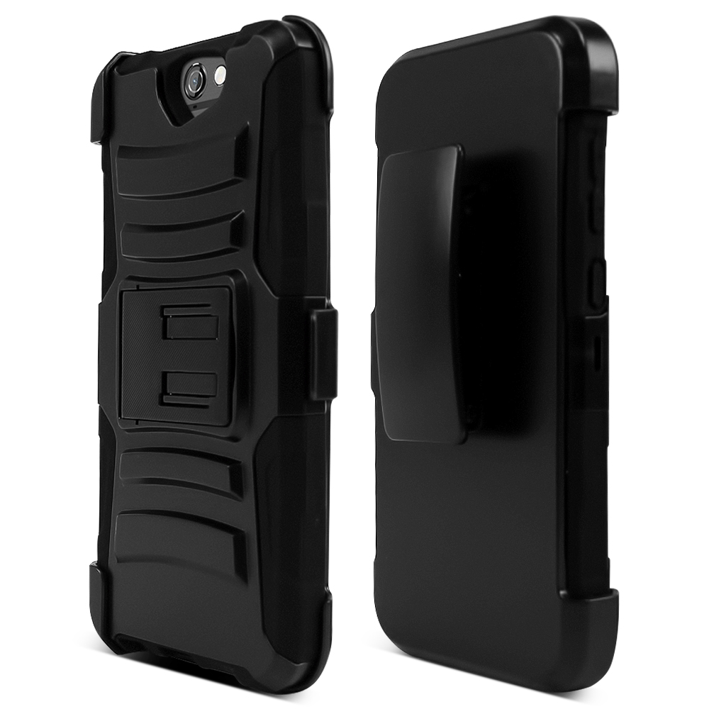 HTC One A9 Holster Case, [Black] Supreme Protection Plastic on Silicone Dual Layer Hybrid Case