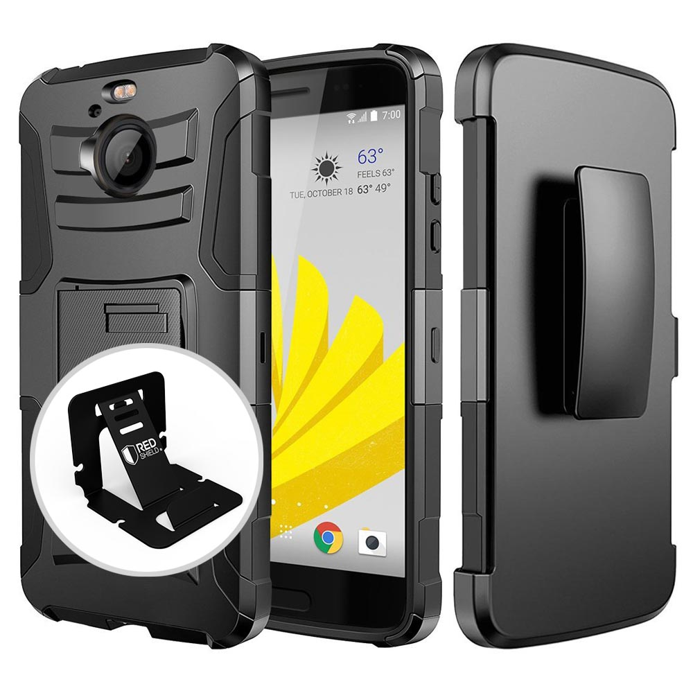 HTC Bolt Case, REDshield [BLACK] Dual Layer Holster w/ Kickstand & Belt Clip with Travel Wallet Phone Stand
