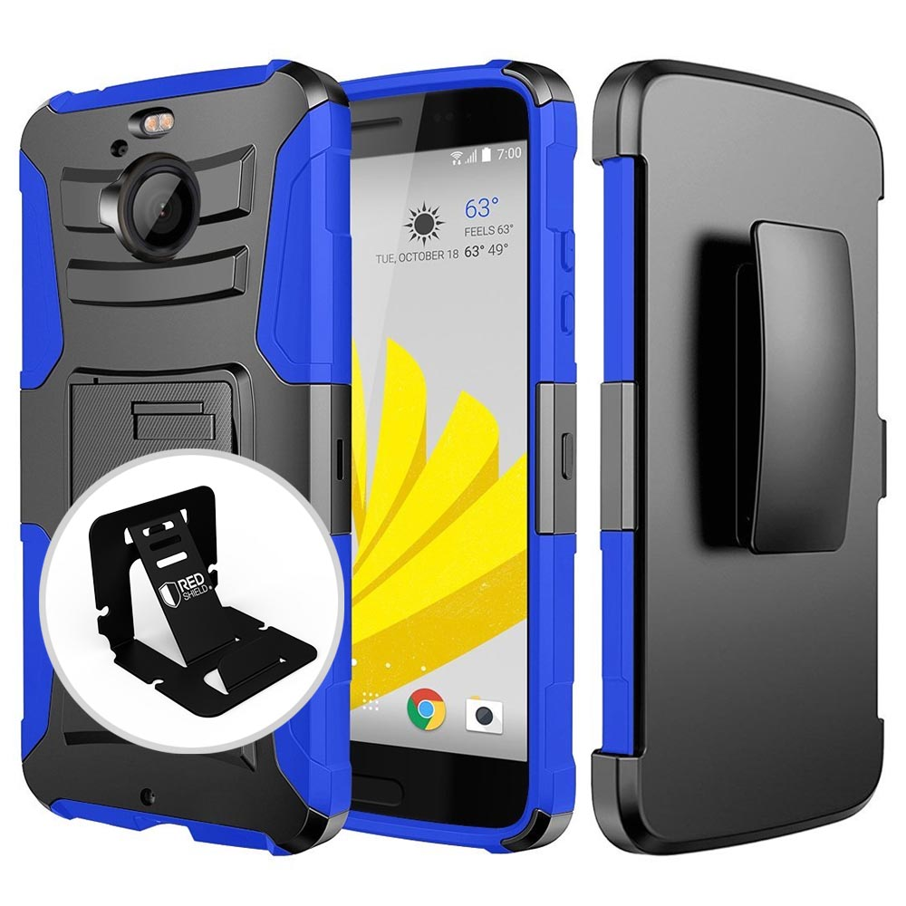 HTC Bolt Case, REDshield [BLUE] Dual Layer Holster w/ Kickstand & Belt Clip with Travel Wallet Phone Stand