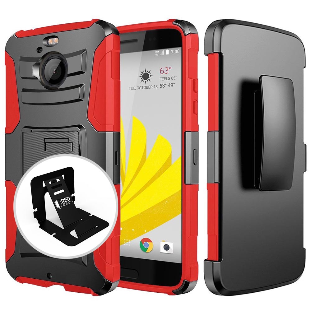 HTC Bolt Case, REDshield [RED] Dual Layer Holster w/ Kickstand & Belt Clip with Travel Wallet Phone Stand