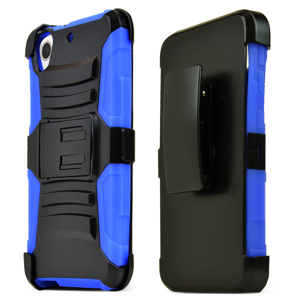 HTC Desire 626/ 626S Holster Case, [Blue] Supreme Protection Plastic on Silicone Dual Layer Hybrid Case