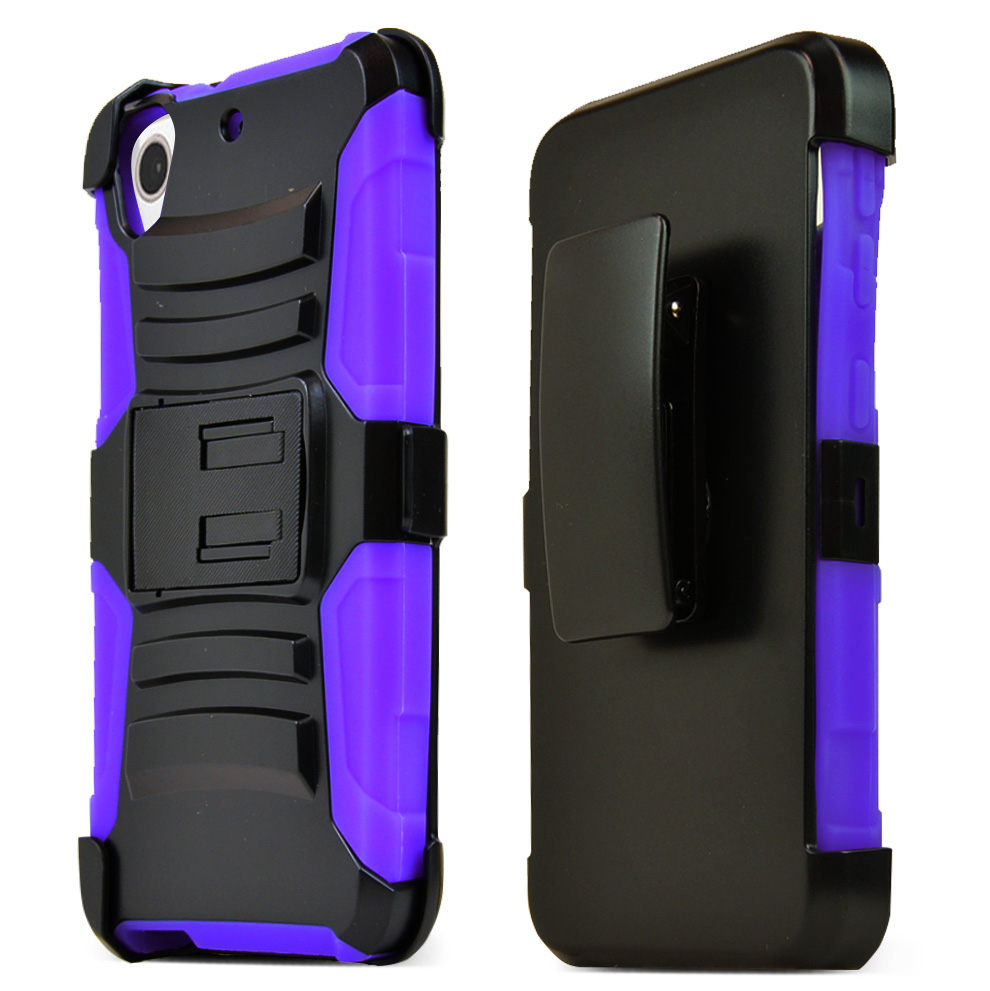 HTC Desire 626/ 626S Holster Case, [Purple] Supreme Protection Plastic on Silicone Dual Layer Hybrid Case