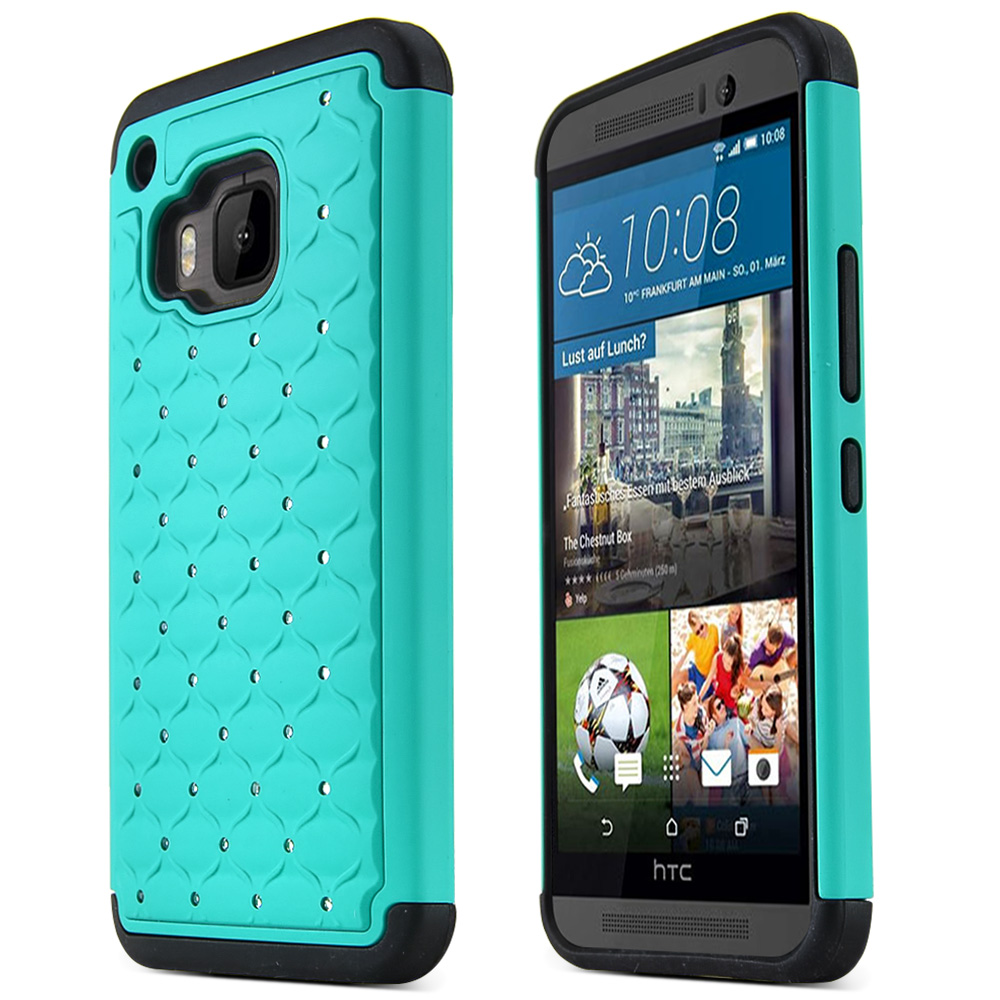 HTC One M9 Case, [Dark Mint / Black]  Supreme Protection Plastic on Silicone Dual Layer Hybrid Case