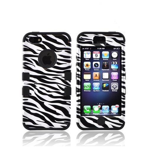 Apple iPhone SE / 5 / 5S  Case,  [Black/ White Zebra]  Heavy Duty Hard Case Over Silicone