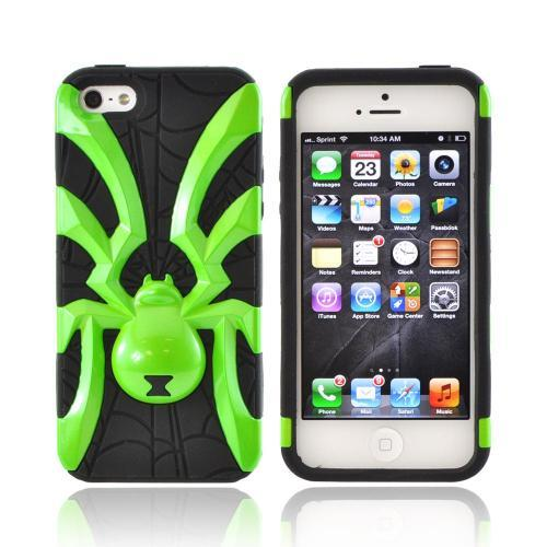 Apple iPhone SE / 5 / 5S  Case,  [Lime Green Spider on Black]  Heavy Duty Hard Case Over Silicone