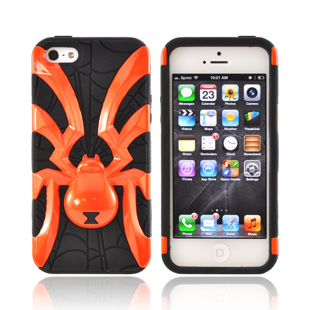 Apple iPhone SE / 5 / 5S  Case,  [Orange Spider on Black]  Heavy Duty Hard Case Over Silicone