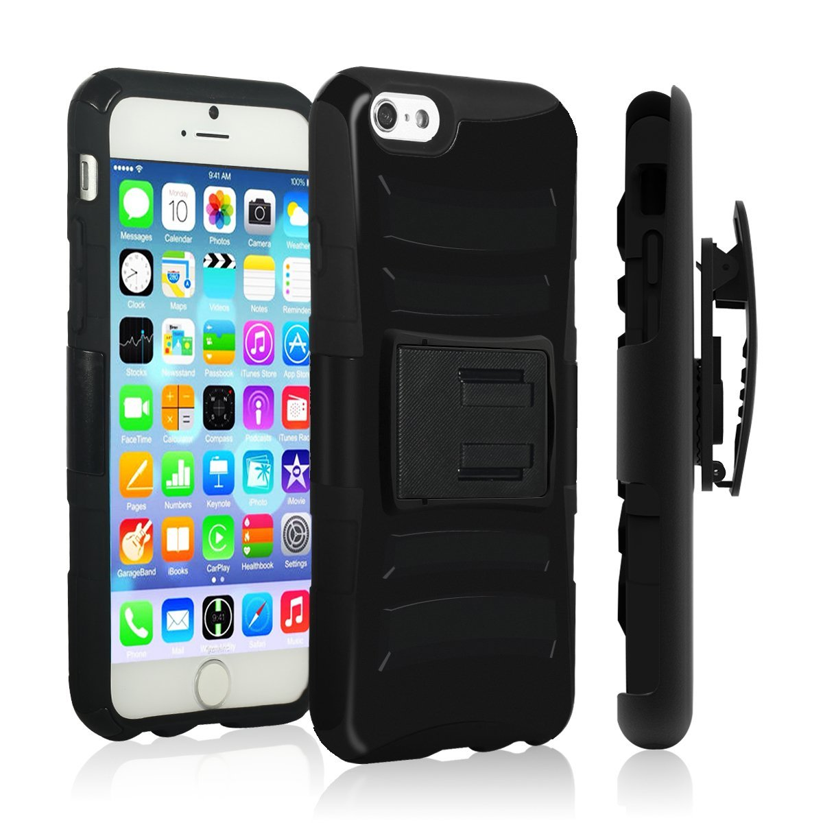 Made for Apple iPhone 6 PLUS/6S PLUS (5.5 inch) Heavy Case,  [Black]  Heavy Duty Dual Layer Hybrid Holster Case with Kickstand and Locking Belt Swivel Clip by Redshield