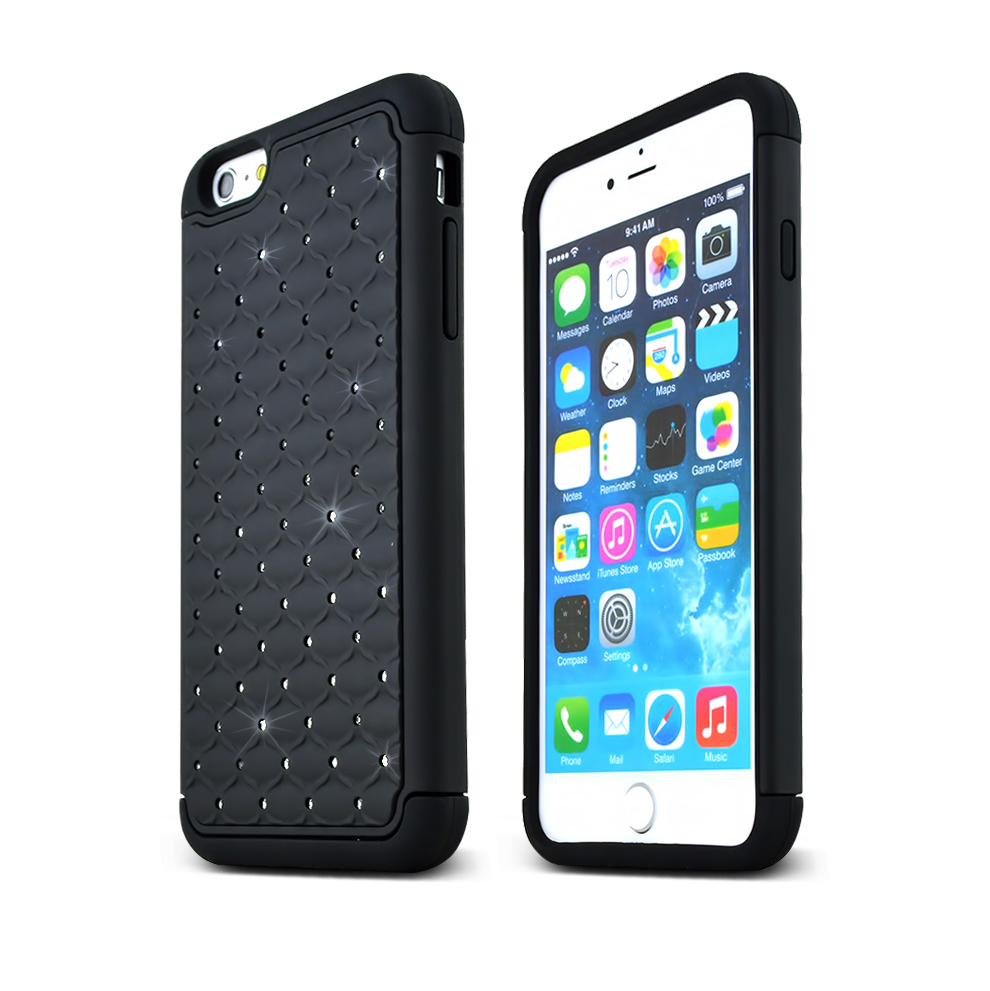 Made for Apple iPhone 6 PLUS/6S PLUS (5.5 inch) Bling Case,  [Black Bling]  Supreme Protection Plastic on Silicone Dual Layer Hybrid Case by Redshield