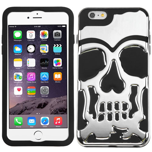 Made for Apple iPhone 6S/6 Plus (5.5 inch) Case, Skull Hybrid Dual Layer Hard Case on Silicone Skin [Silver] by Redshield