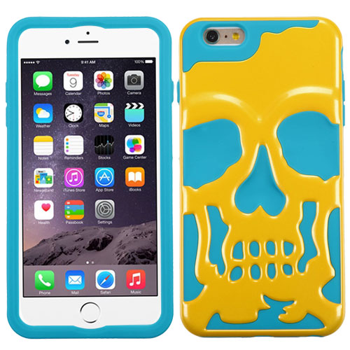 Apple iPhone 6S/6 Plus (5.5 inch) Case, Skull Hybrid Dual Layer Hard Case on Silicone Skin [Yellow on Teal]