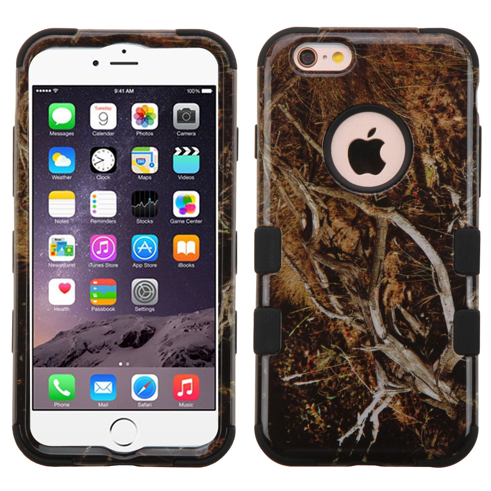 Apple iPhone 6/6S Plus (5.5 inch) Case, TUFF Hybrid Dual Layer Hard Case on Silicone Skin [Tree Branches on Black]