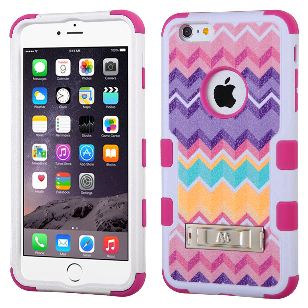 Apple iPhone 6/6S Plus (5.5 inch) Case, TUFF Hybrid Dual Layer Hard Case on Silicone Skin w/ Kickstand [Camo Wave Chevron]