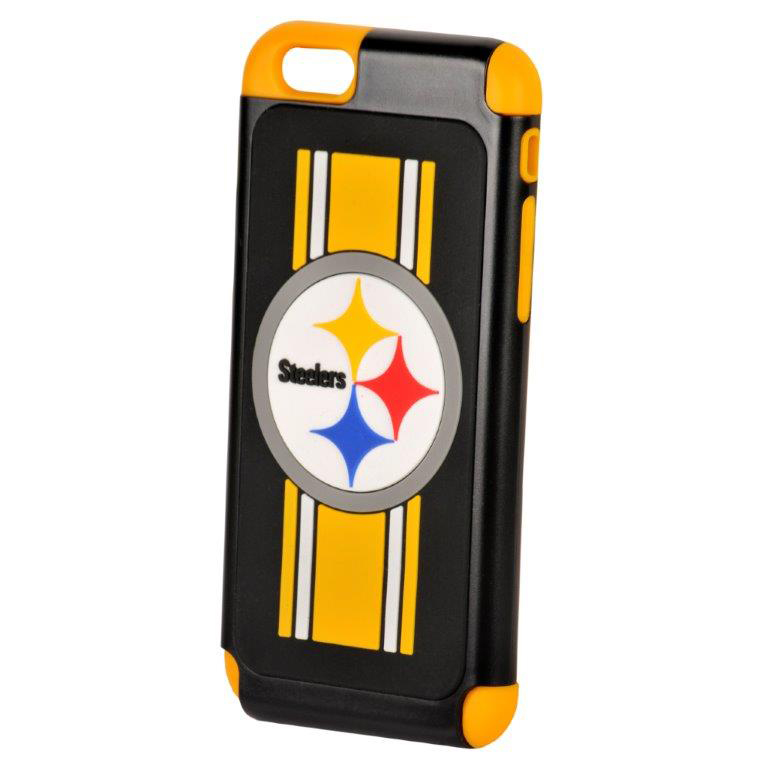 Apple iPhone 6S / 6 NFL Case, Slim Dual layer Hybrid Hard Case on TPU Case [Pittsburgh Steelers]