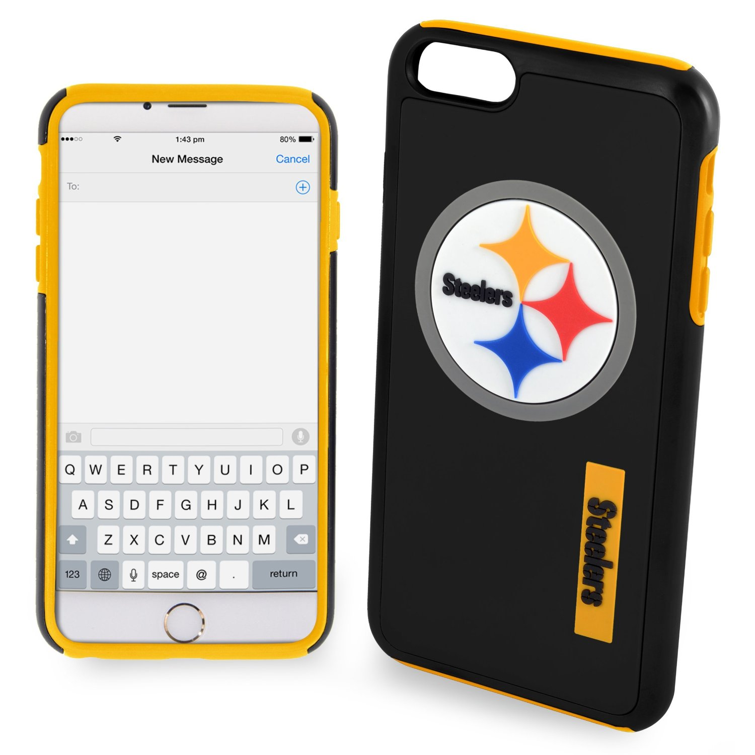 Made for Apple iPhone 6/6S Plus (5.5 inch) NFL Case, Slim Dual layer Hybrid Hard Case on TPU Case [Pittsburgh Steelers] by NFL