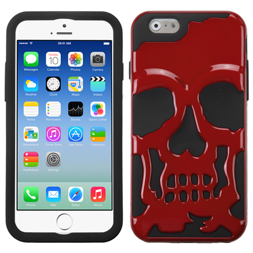 Apple iPhone 6/6S (4.7 inch) Case, Skull Hybrid Dual Layer Hard Case on Silicone Skin [Red]