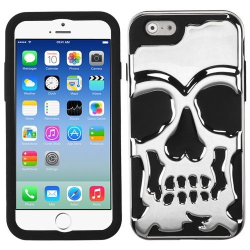 Apple iPhone 6/6S  (4.7 inch) Case, Skull Hybrid Dual Layer Hard Case on Silicone Skin [Silver]