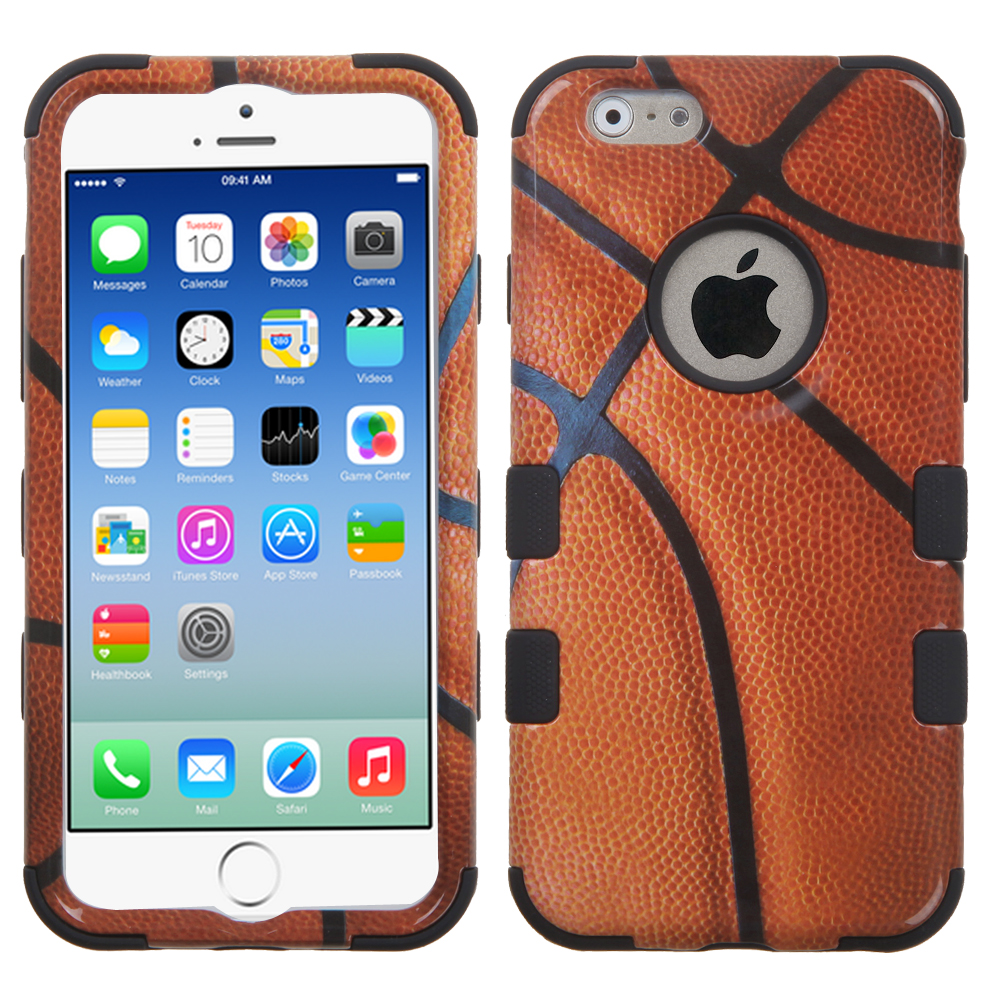 Apple iPhone 6/6S  (4.7 inch) Case, TUFF Hybrid Dual Layer Hard Case on Silicone Skin [Basketball]