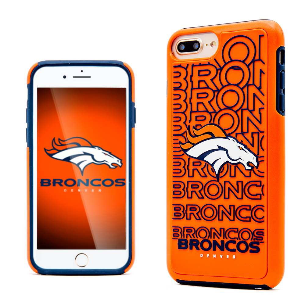 Apple iPhone 8 Plus / 7 Plus / 6S Plus / 6 Plus NFL Case, Slim Dual layer Hybrid Hard Case on TPU Case [Denver Broncos]