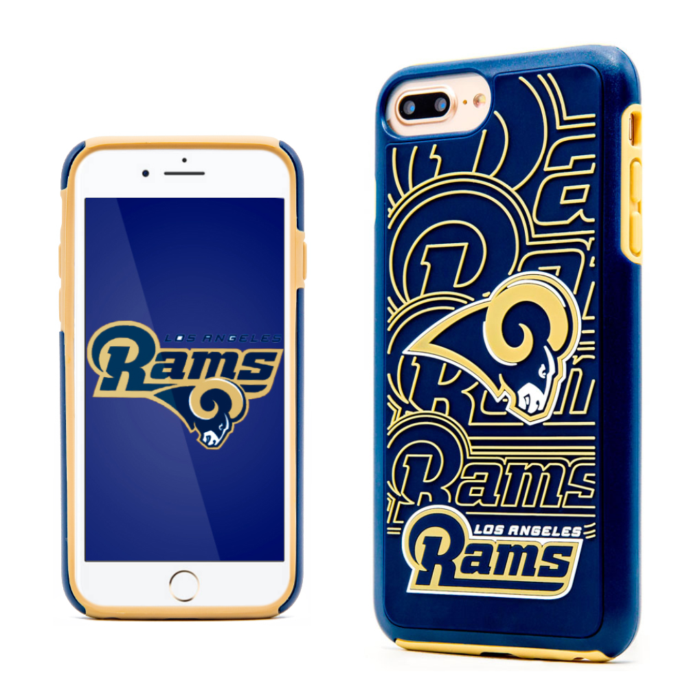 Apple iPhone 8 Plus / 7 Plus / 6S Plus / 6 Plus NFL Case, Slim Dual layer Hybrid Hard Case on TPU Case [Los Angeles Rams]