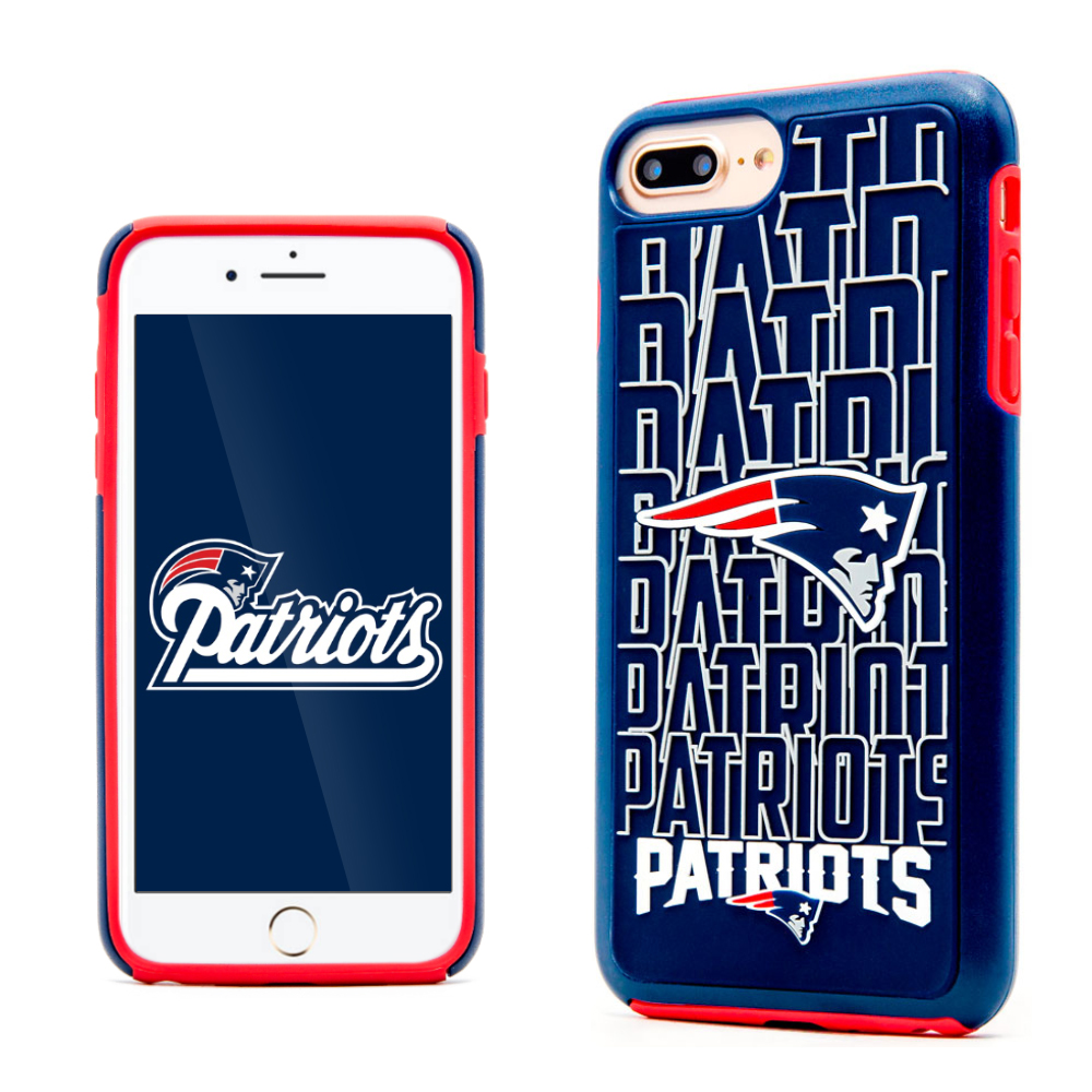 Apple iPhone 8 Plus / 7 Plus / 6S Plus / 6 Plus NFL Case, Slim Dual layer Hybrid Hard Case on TPU Case [New England Patriots]
