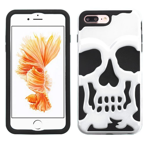 Made for Apple iPhone 8/7/6S/6 Plus Case, Skull Hybrid Dual Layer Hard Case on Silicone Skin [White] with Travel Wallet Phone Stand by Redshield
