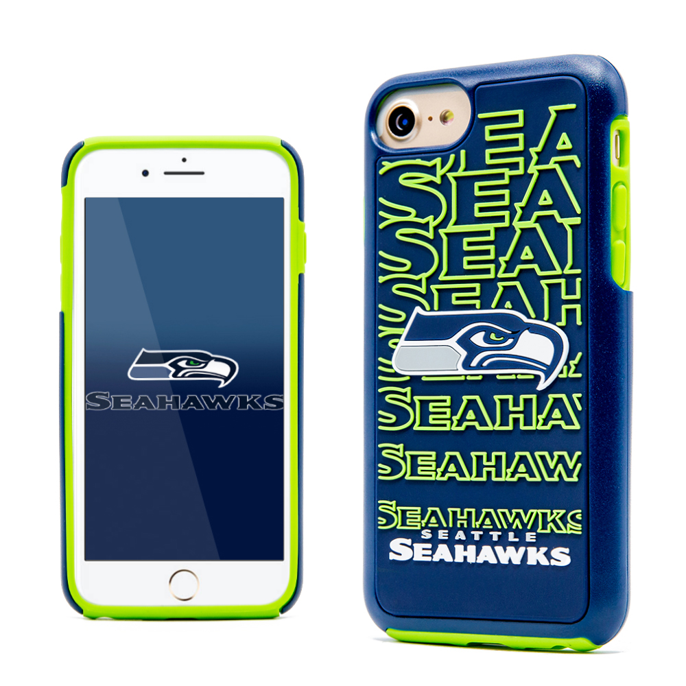 Apple iPhone 8 / 7 / 6S / 6 NFL Case, Slim Dual layer Hybrid Hard Case on TPU Case [Seattle Seahawks]