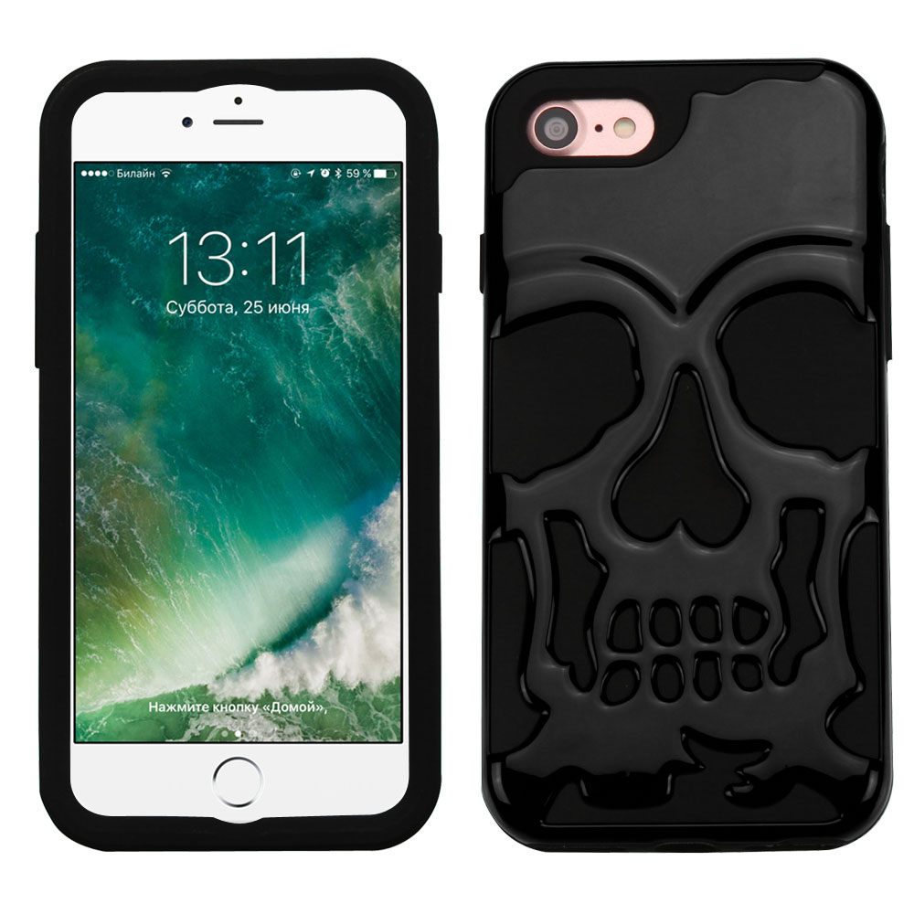 Apple iPhone 8/7/6S/6 Case, Skull Hybrid Dual Layer Hard Case on Silicone Skin [Black] with Travel Wallet Phone Stand