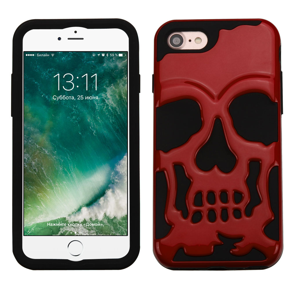 Apple iPhone 8/7/6S/6 Case, Skull Hybrid Dual Layer Hard Case on Silicone Skin [Red] with Travel Wallet Phone Stand