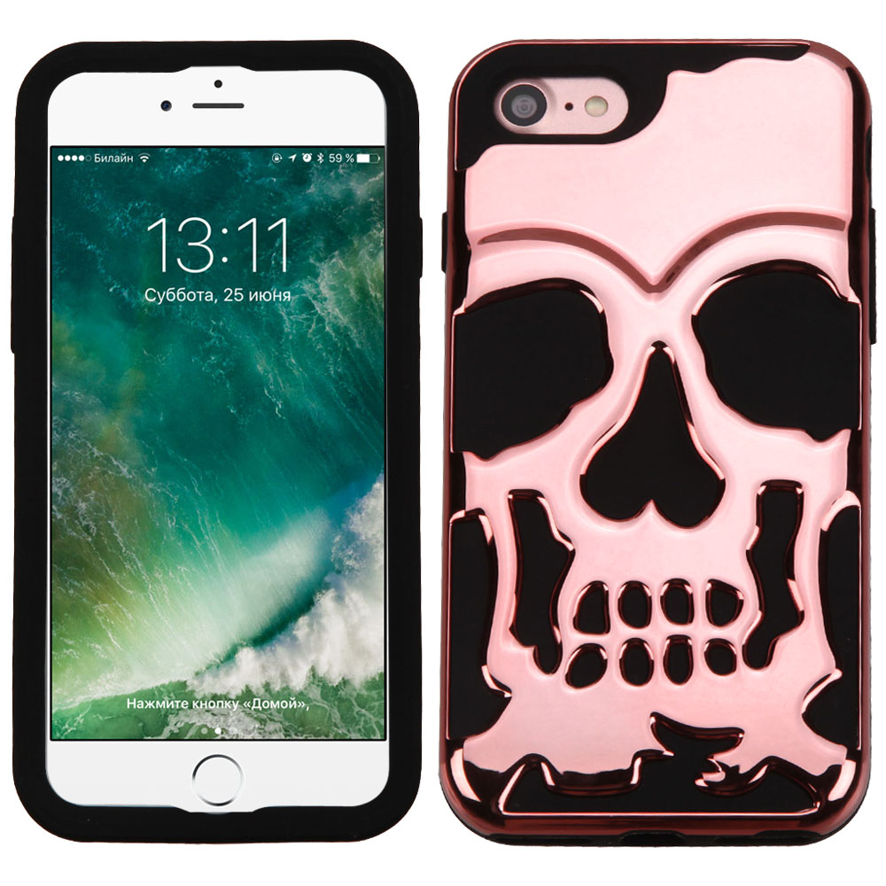Made for Apple iPhone 8/7/6S/6Case, Skull Hybrid Dual Layer Hard Case on Silicone Skin [Rose Gold] with Travel Wallet Phone Stand by Redshield