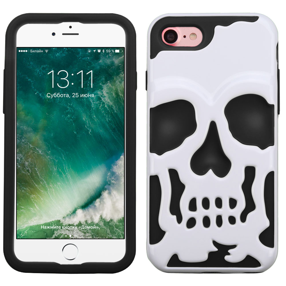 Apple iPhone 8/7/6S/6 Case, Skull Hybrid Dual Layer Hard Case on Silicone Skin [White] with Travel Wallet Phone Stand