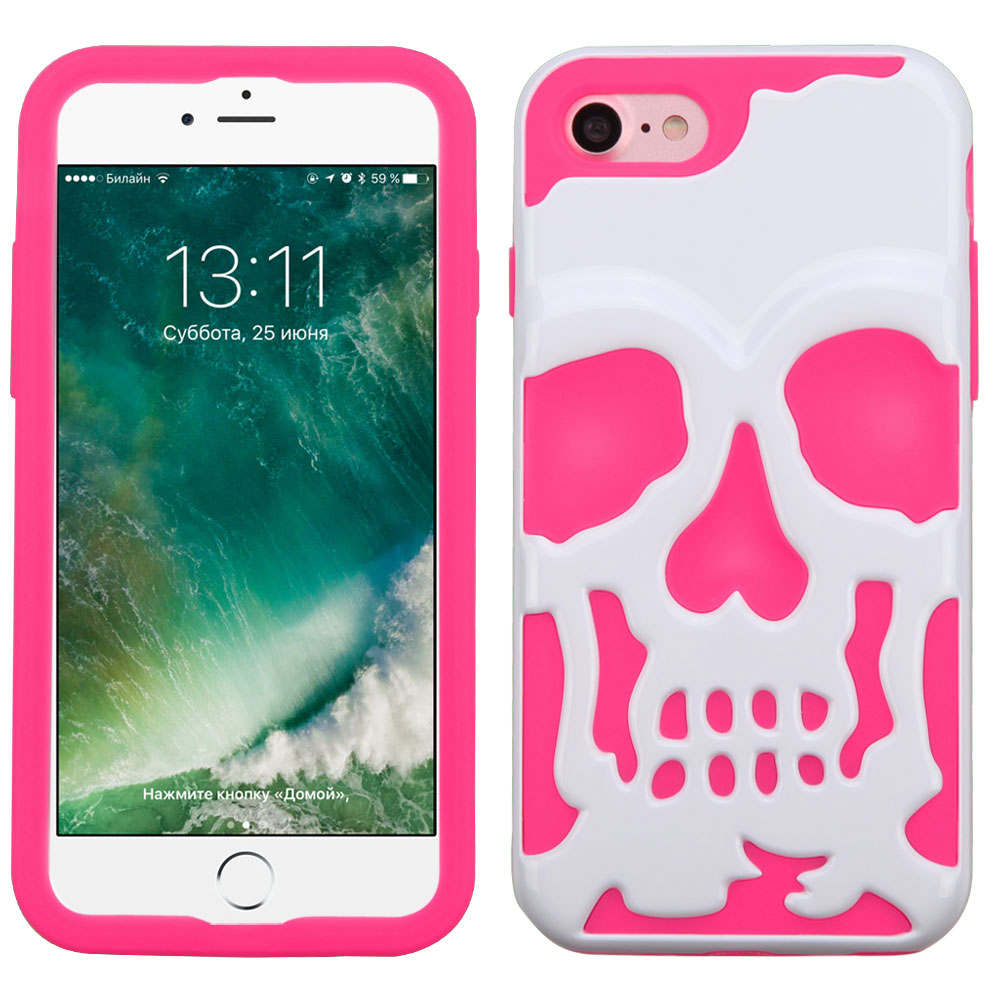 Apple iPhone 8/7/6S/6 Case, Skull Hybrid Dual Layer Hard Case on Silicone Skin [White on Hot Pink] with Travel Wallet Phone Stand