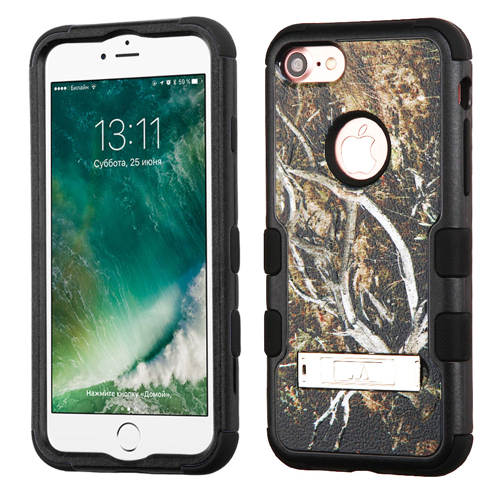 Made for Apple iPhone 8/7/6S/6 Case, TUFF Hybrid Dual Layer Hard Case on Silicone Skin w/ Kickstand [Tree Branches on Black] with Travel Wallet Phone Stand by Redshield