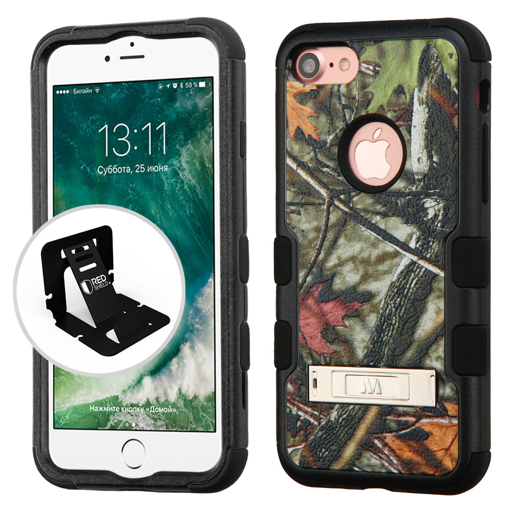 Apple iPhone 8/7/6S/6 Case, TUFF Hybrid Dual Layer Hard Case on Silicone Skin w/ Kickstand [Oak Leaves-Hunting Camouflage] with Travel Wallet Phone Stand