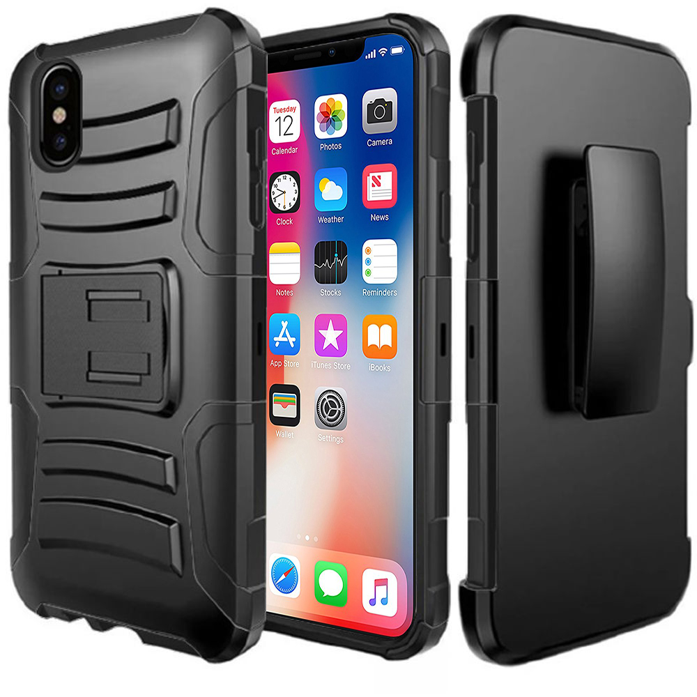Made for [Apple iPhone X / XS 2018] Holster Case, Dual Layer [Black] Hard Case w/ Kickstand on [Black] Silicone Skin Case w/ Holster by Redshield