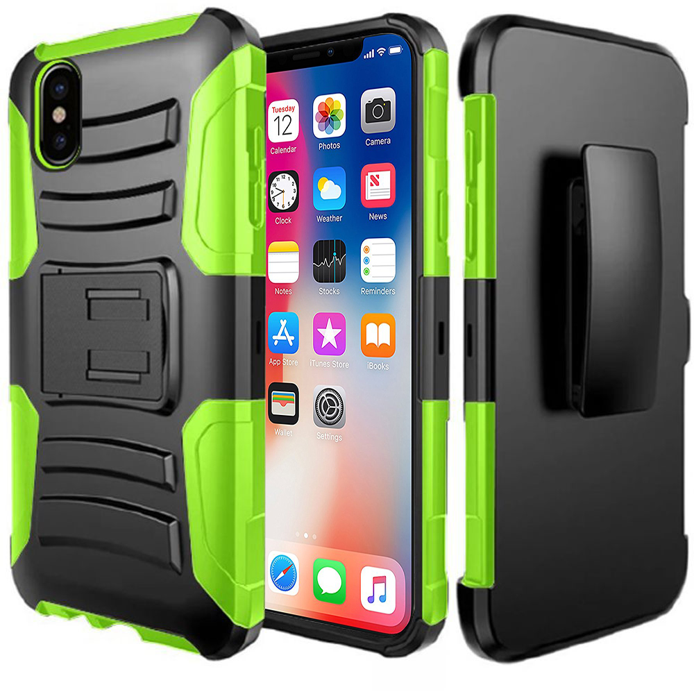 Made for [Apple iPhone X / XS 2018] Holster Case, Dual Layer [Black] Hard Case w/ Kickstand on [Neon Green] Silicone Skin Case w/ Holster by Redshield