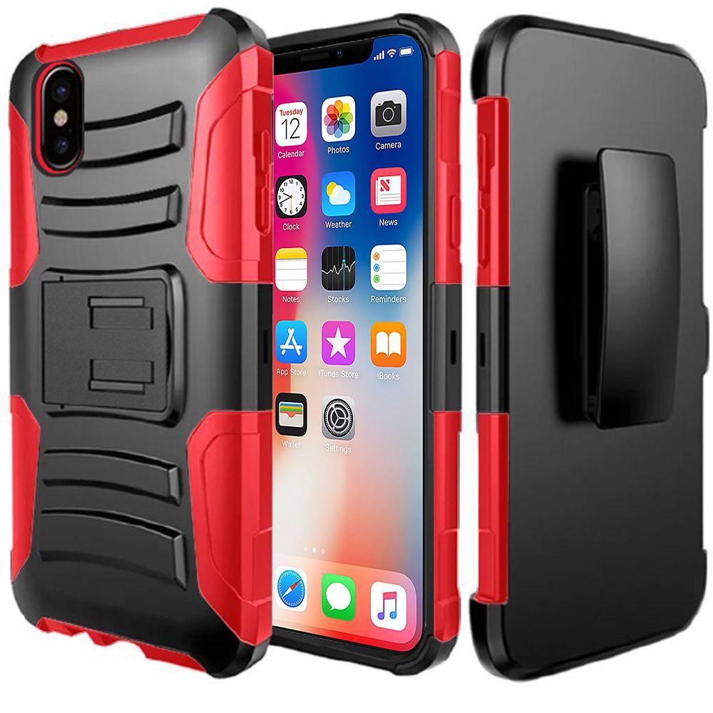 Made for [Apple iPhone X / XS 2018] Holster Case, Dual Layer [Black] Hard Case w/ Kickstand on [Red] Silicone Skin Case w/ Holster by Redshield