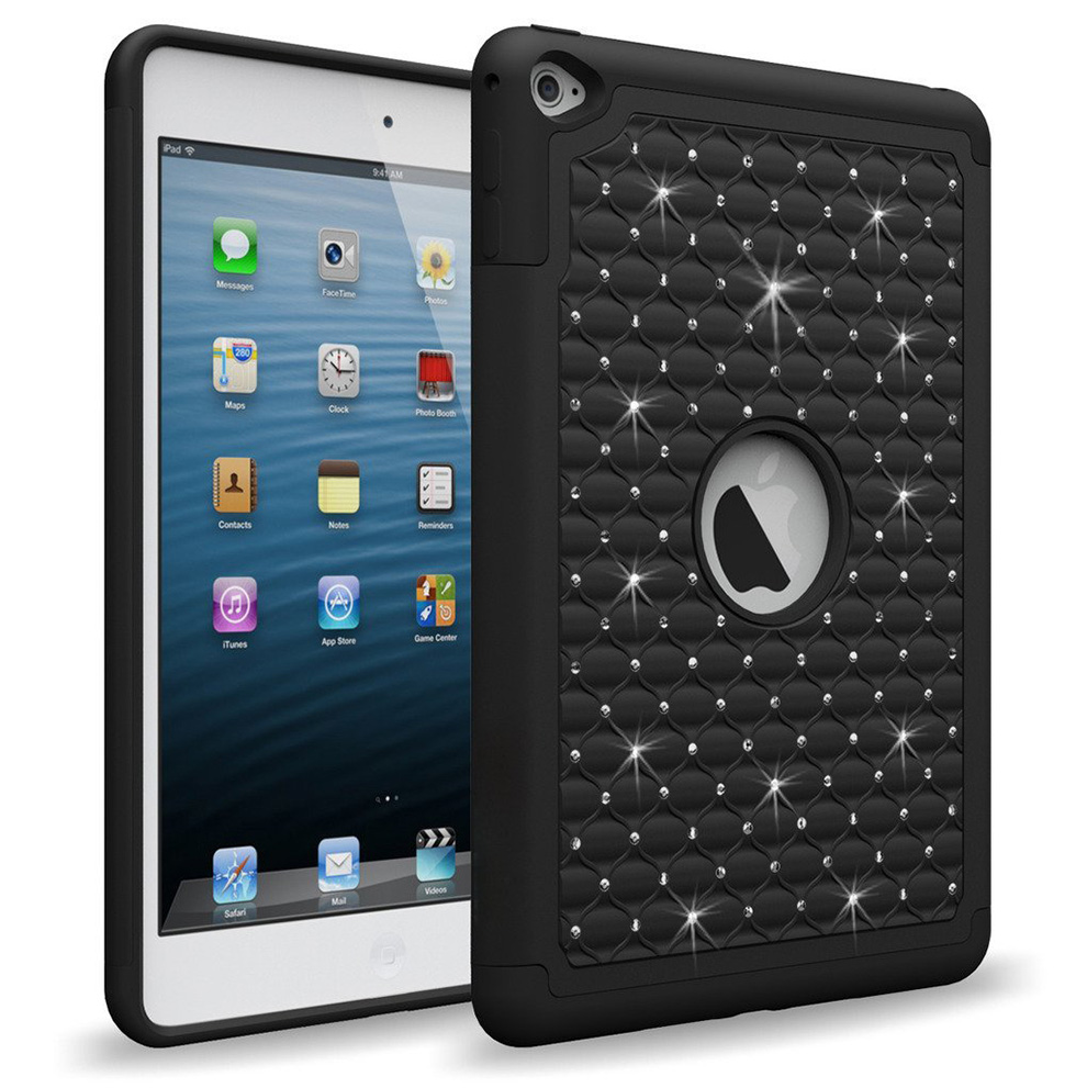 iPad Mini 4 Case, [Black Bling] Supreme Protection Bling Plastic on Silicone Dual Layer Hybrid Case For Apple iPad Mini 4