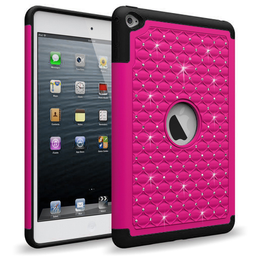 Made for Apple iPad Mini 4 Case, [Hot Pink Bling] Supreme Protection Bling Plastic on Silicone Dual Layer Hybrid Case by Redshield