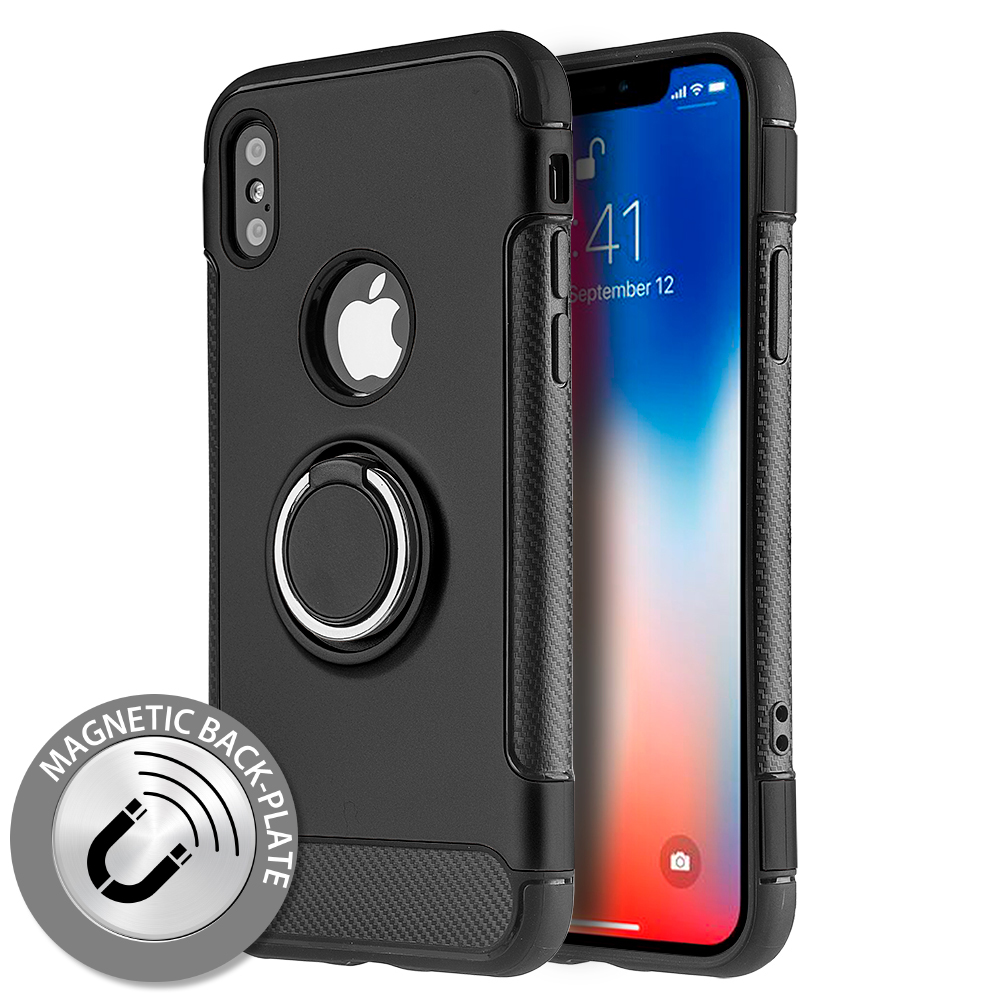 Made for [Apple iPhone X / XS 2018] Hybrid Case, [Black] Carbon Fiber Design Edge Dual Layer Case w/ Ring Holder Stand Magnetic Back Plate by Redshield