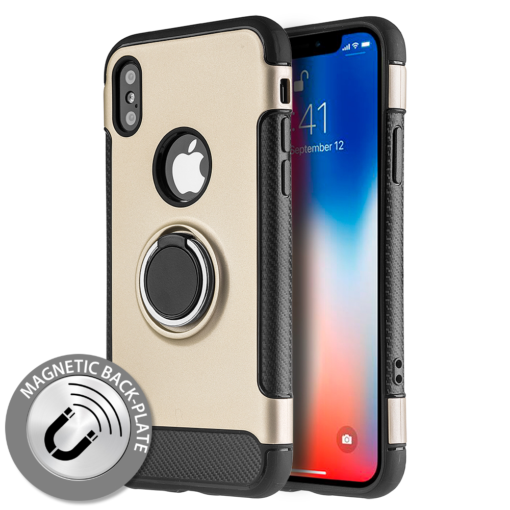 Apple iPhone X Hybrid Case, [Gold] Carbon Fiber Design Edge Dual Layer Case w/ Ring Holder Stand & Magnetic Back Plate