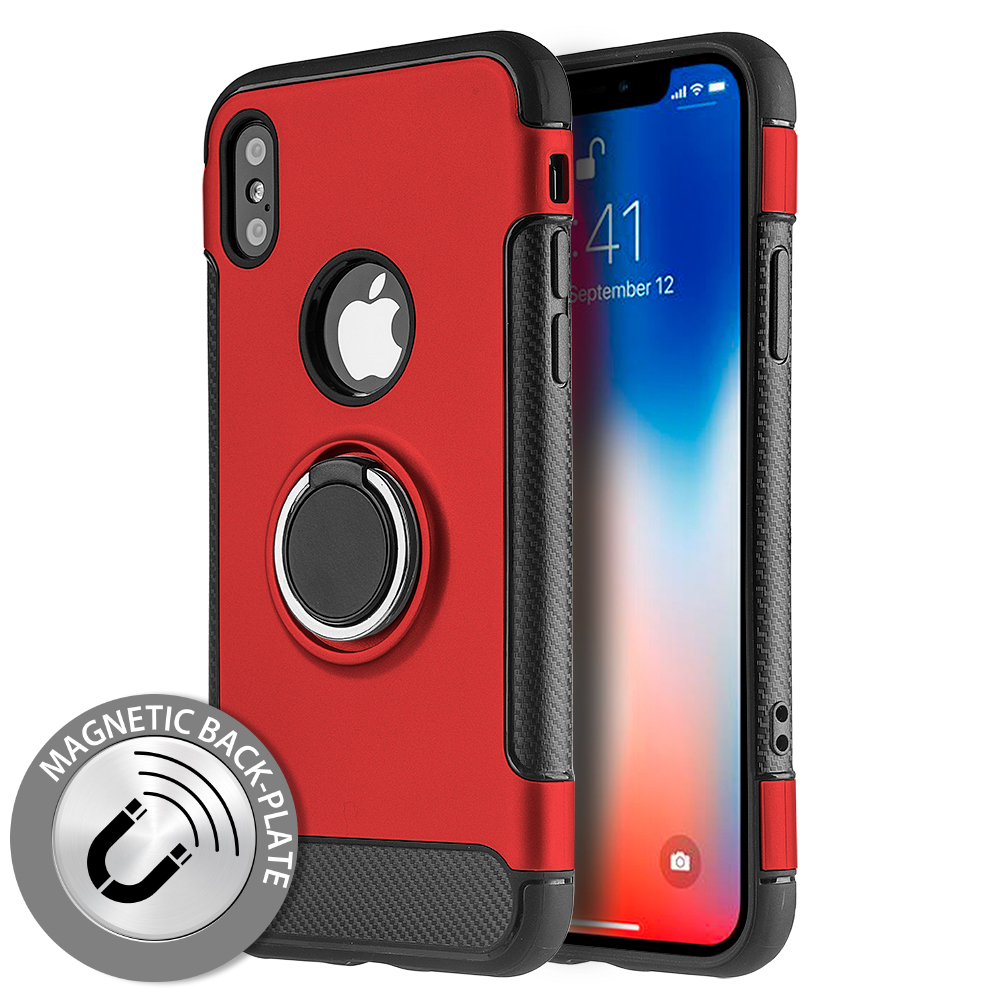 Made for [Apple iPhone X / XS 2018] Hybrid Case, [Red] Carbon Fiber Design Edge Dual Layer Case w/ Ring Holder Stand Magnetic Back Plate by Redshield