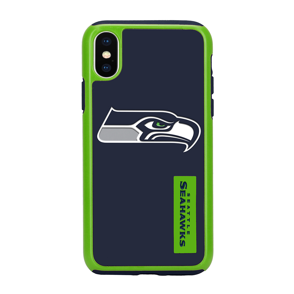 Apple iPhone X NFL Case, [Seattle Seahawks] Slim Dual layer Hybrid Hard Case on TPU Case
