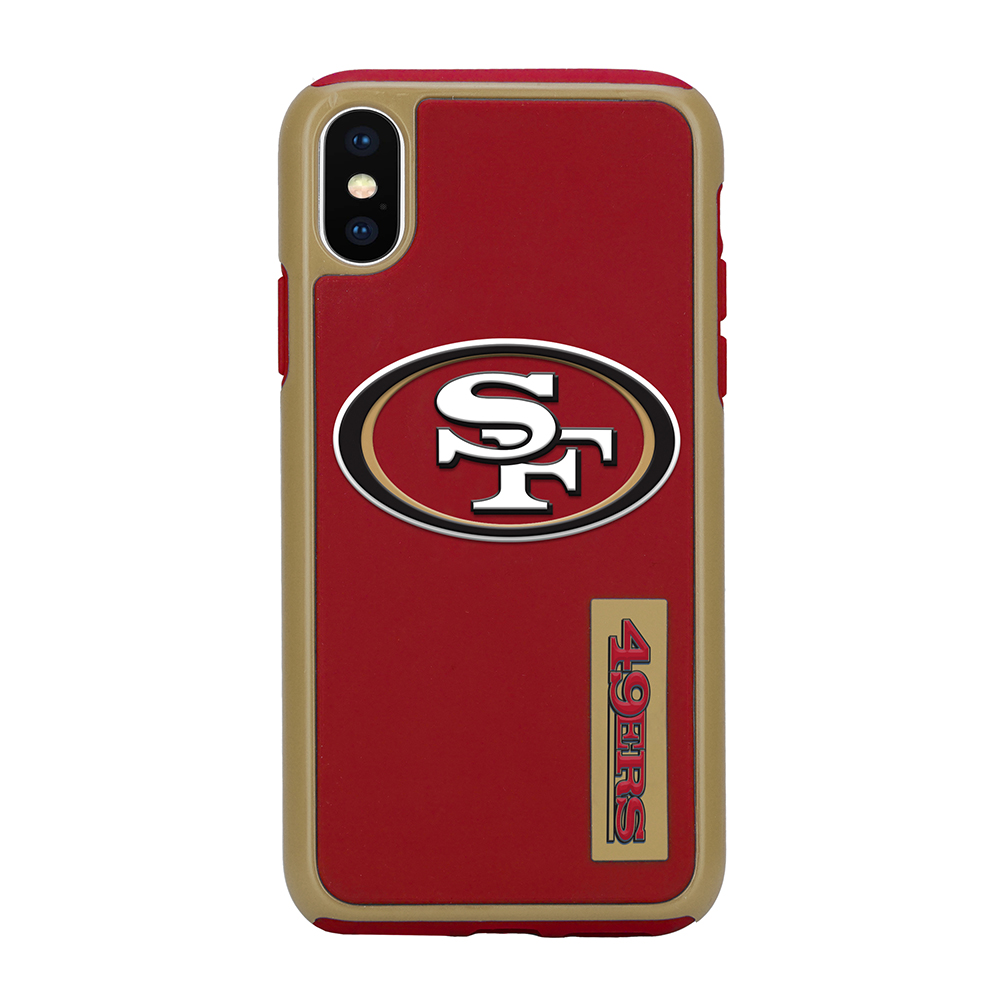 Apple iPhone X NFL Case, [San Francisco 49ers] Slim Dual layer Hybrid Hard Case on TPU Case