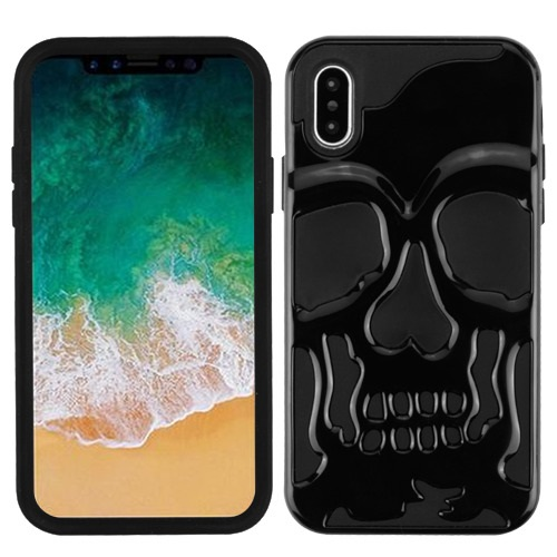 Apple iPhone X Case, [Black] Skull Hybrid Dual Layer Hard Case on Silicone Skin