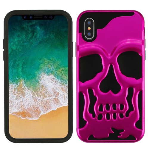Apple iPhone X Case, [Hot Pink] Skull Hybrid Dual Layer Hard Case on Silicone Skin