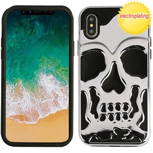 Apple iPhone X Case, [Silver] Skull Hybrid Dual Layer Hard Case on Silicone Skin