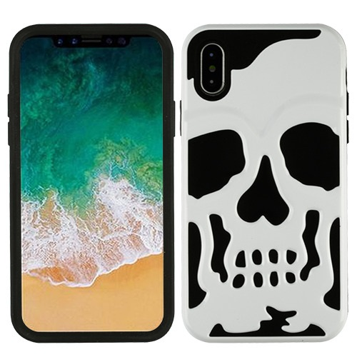 Made for [Apple iPhone X / XS 2018] Case, [White] Skull Hybrid Dual Layer Hard Case on Silicone Skin by Redshield