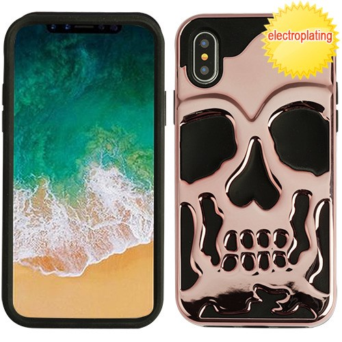 Apple iPhone X Case, [Rose Gold] Skull Hybrid Dual Layer Hard Case on Silicone Skin
